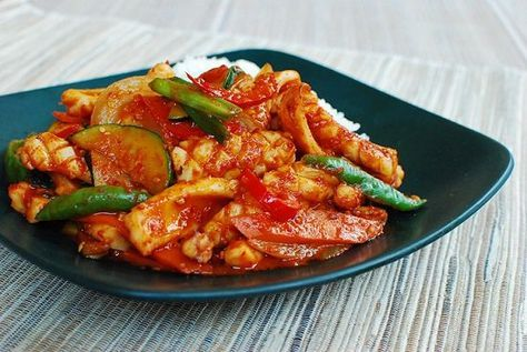 This squid dish is one of the most popular spicy dishes in Korean cuisine. The squid is cut into bite-sized pieces and stir fried in a slightly sweet red chili sauce along with some vegetables.   The sauce's main ingredients are gochujang (fermented chili pepper paste) and gochugaru (chili pepper flakes). For an …