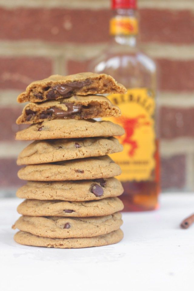 Delicious fireball whisky brown butter chocolate chip cookies with a molten chocolate center.