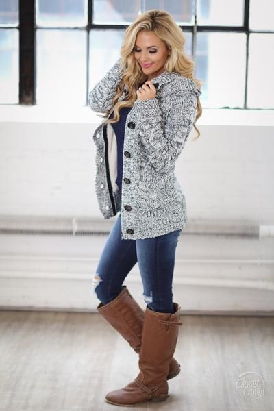 Waiting For You Hooded Sweater - Heathered Navy - Closet Candy Boutique