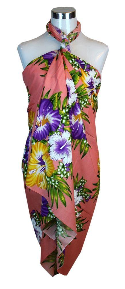 Jumbo Plus Size Tropical Cruise Beach Luau Sarong Wrap Dress Pareo Light Peach #Unbranded #Sarong