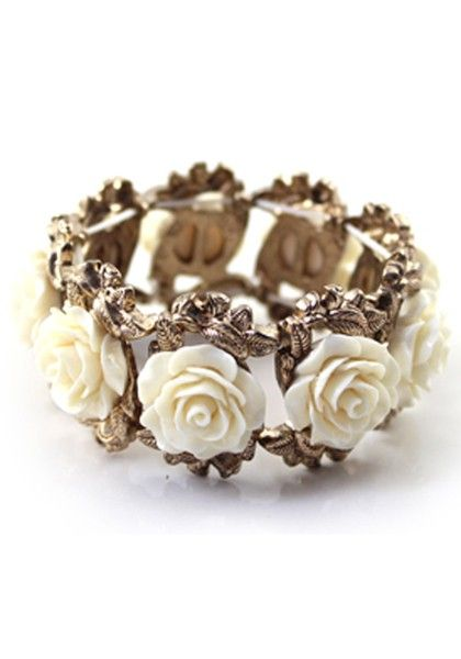 Lovely White Flowers Bangle Bracelet