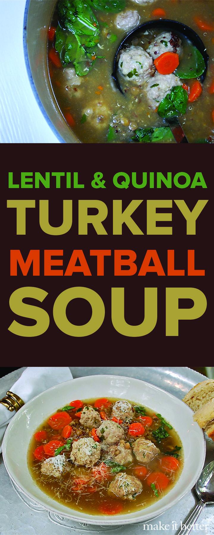 Lentil & Quinoa Turkey Meatball Soup Recipe — filling, flavorful and healthy — and, bonus, there's only one pot to clean!