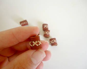 Small leather bead, small dread bead, dread cuff, cross stiched bead, tiny dreadlock bead, dreadlock accessory, leather jewelry, barrel bead