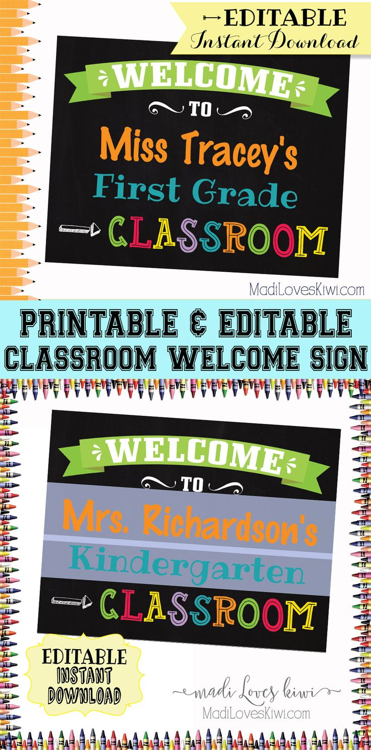 Teachers can welcome their new students to the classroom with this colorful door sign. This Classroom Welcome Sign is an editable PDF and makes a fantastic teacher's gift too! | teacher sign, teacher door sign, welcome class sign, classroom decor, printable teacher sign, classroom wall art, printable classroom decor, classroom printables, chalkboard welcome sign, chalkboard classroom decor, classroom printable wall art, kindergarten sign, preschool sign, first grade sign, second grade sign…