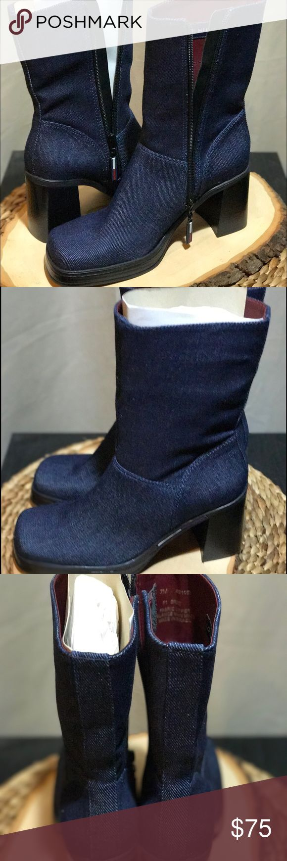 Tommy Hilfiger Boots Denim women's 7 NWOB Tommy Denim Boots! Tommy Hilfiger Shoes Heeled Boots