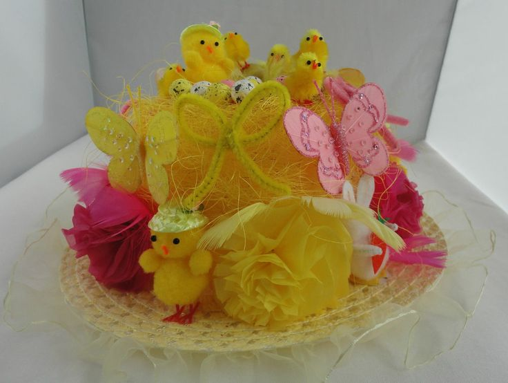 READY HAND MADE DECORATED EASTER BONNET HAT SCHOOL EASTER PARADE PARTY EGG HUNT