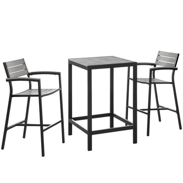 Maine Brown Gray Wood 3pc Outdoor Patio Bar Set