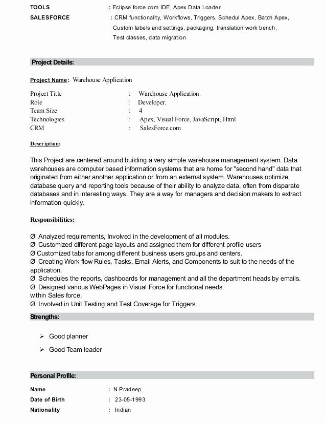 Luxury Salesforce Developer Resume Geinofo In 2020 Project Manager Resume Resume Examples Manager Resume