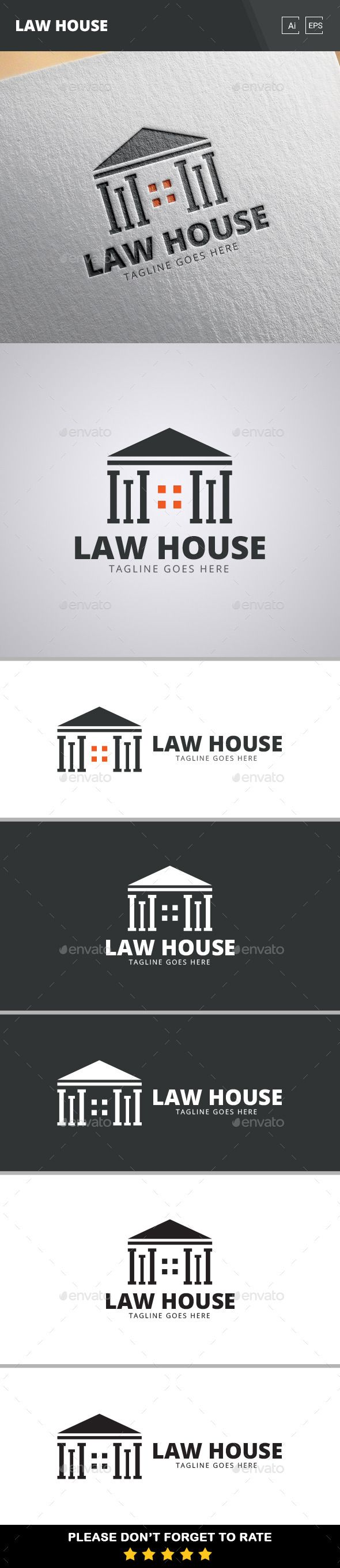 Law House Logo Template #vector #eps #court #lawyer • Available here → https://graphicriver.net/item/law-house-logo-template/11064611?ref=pxcr