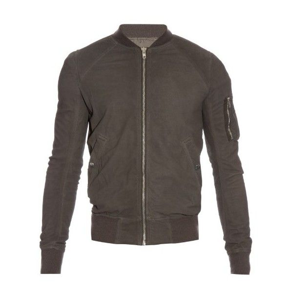 Rick Owens Blister distressed brushed-leather bomber jacket (1407480 IQD) ❤ liked on Polyvore featuring men's fashion, men's clothing, men's outerwear, men's jackets, grey, mens leather bomber jacket, mens grey jacket, mens bomber jacket, mens leather flight jacket and mens leather jackets