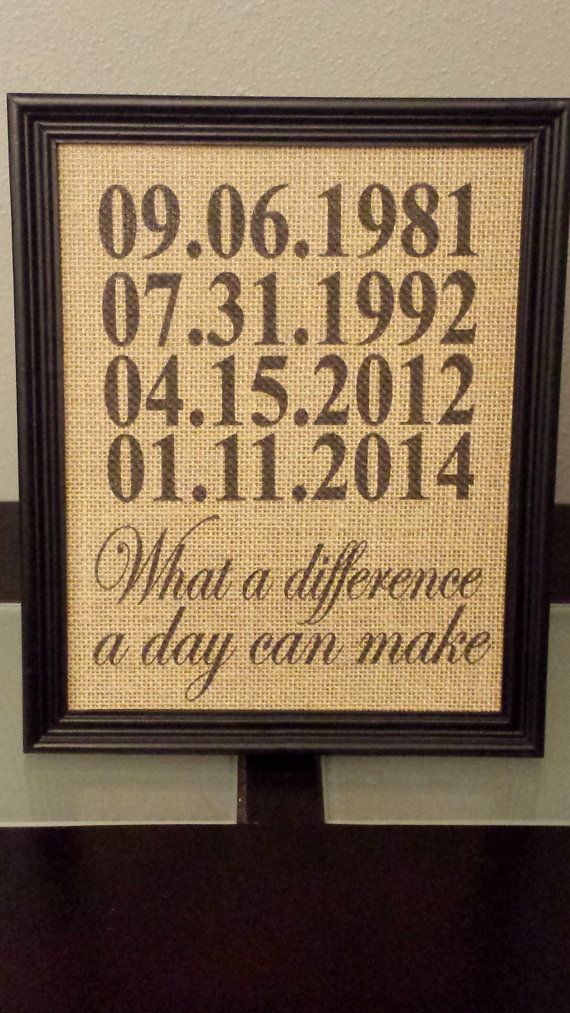 Framed Burlap Print Custom Important Date by DideschDelights