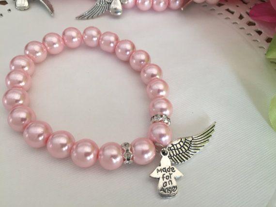 12Angel Perlen Armbänder für Taufe Gefälligkeiten von WEDDINGLASSOS