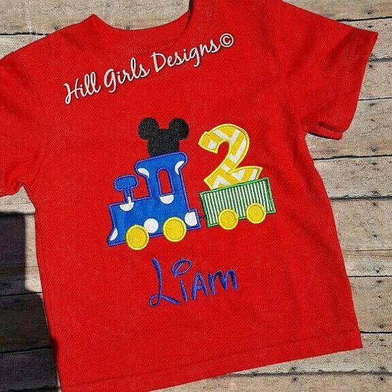 Boy's Mickey Mouse train birthday shirt by HillGirlsDesigns