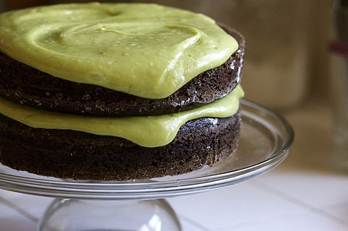 Vegan Chocolate Avocado Cake. I would have never thought to put the two together, but I bet this is delicious!