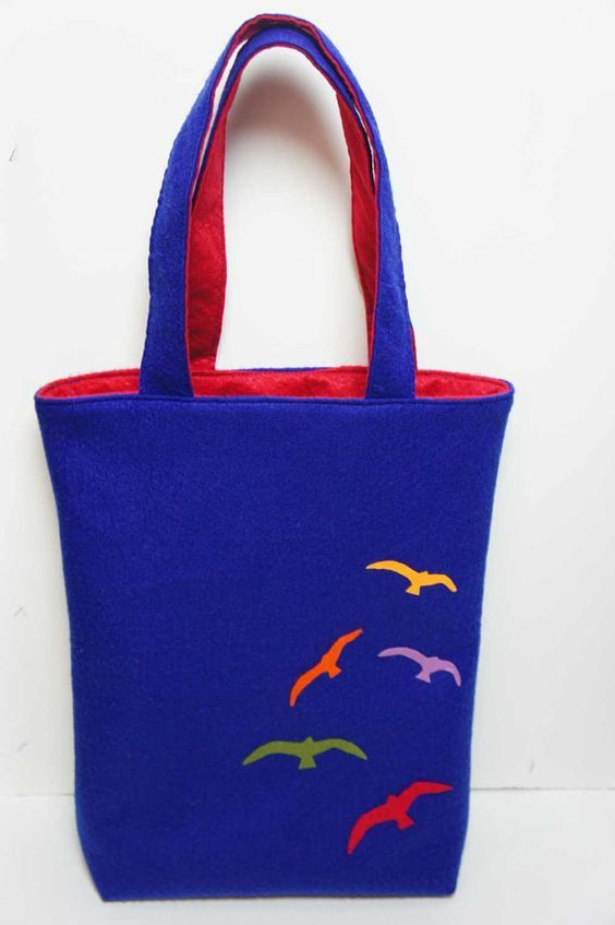 Felt Bag With Seagull  Handmade  Shoulder Felt Bag  by FeltMkr, $29.00: