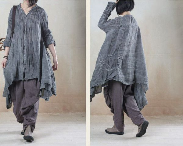 Buykud---Casual loose fitting cotton linen clothing online