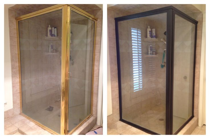 Rustoleum spray paint in Oil Rubbed Bronze updated my brass shower! Very pleased with the result! Make sure you tape and cover everything!!