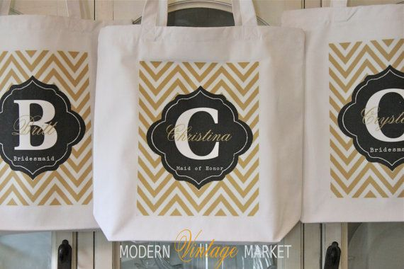 1 CHEVRON TAG -Tote Bags, Gift bags, Bridesmaid bags,in 60 colors to chose from by Modern Vintage Market