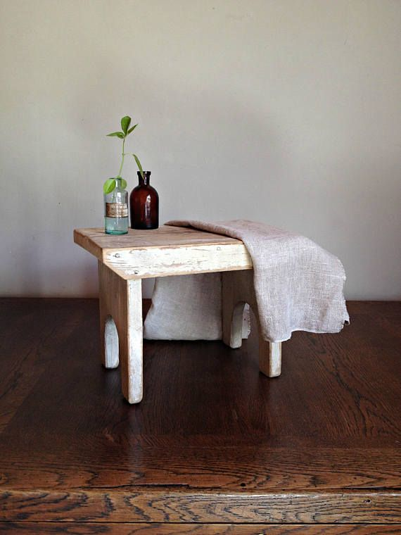 Small wooden bench White wooden stool Rustic bench Rustic