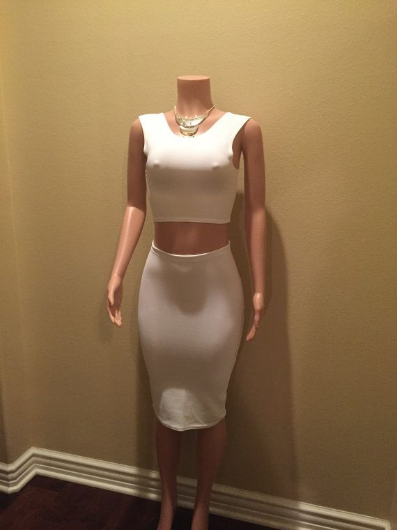 Two Piece White Pencil Skirt Set by PatsyOriginal4 on Etsy
