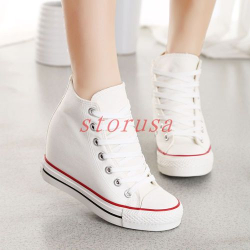 Stylish Canvas Hidden Wedge Heel Womens High Top Lace Up Athletic Sneakers Shoes