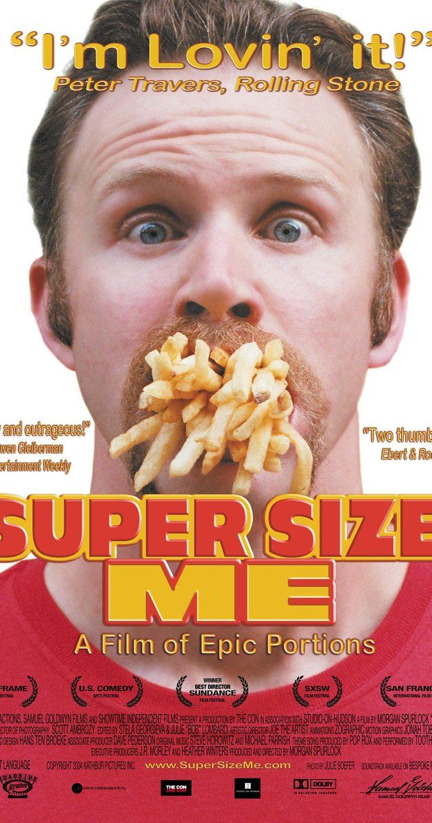 documentarian Morgan Spurlock conducts an unscientific experiment using himself as the Guinea pig: eat only McDonald's for thirty days, three meals a day. If he is asked by the clerk if he would like the meal super sized, he has to say yes.