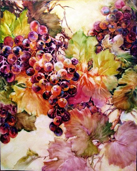 watercolor on Yupo paper - grapes | ARTchat - Porcelain Art Plus (formerly Chatty Teachers & Artists)