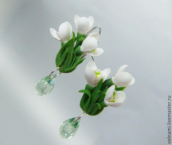 """Купить """"Подснежники"""" серьги - зеленый, серьги, подснежники, клипсы, серьги клипсы, цветы из полимерной глины"""