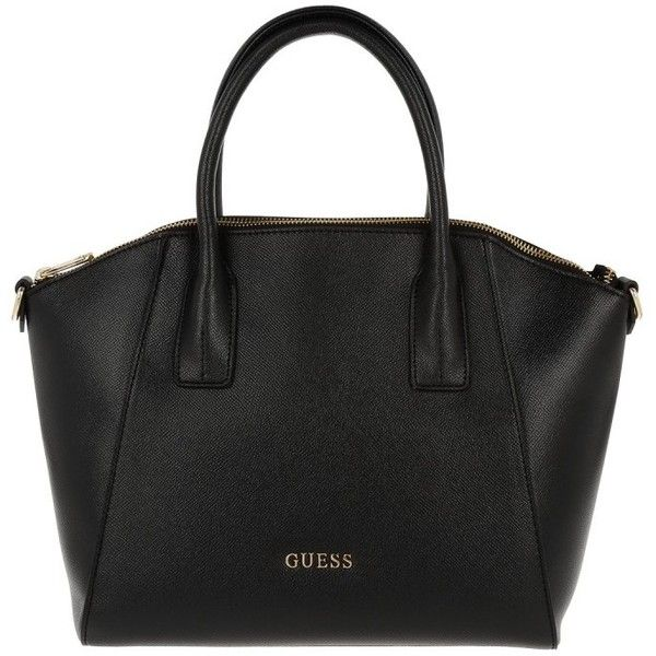 Guess Handle Bag - Isabeau Medium Satchel Black - in black - Handle... (£119) ❤ liked on Polyvore featuring bags, handbags, black, guess purses, zipper bag, medium satchel handbags, medium satchel and zipper purse