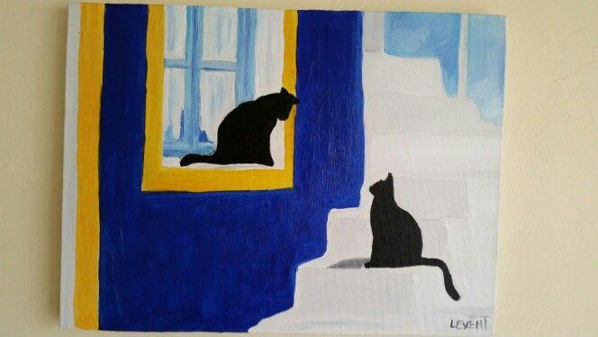 Kara kediler yağlıboya oilpainting cats