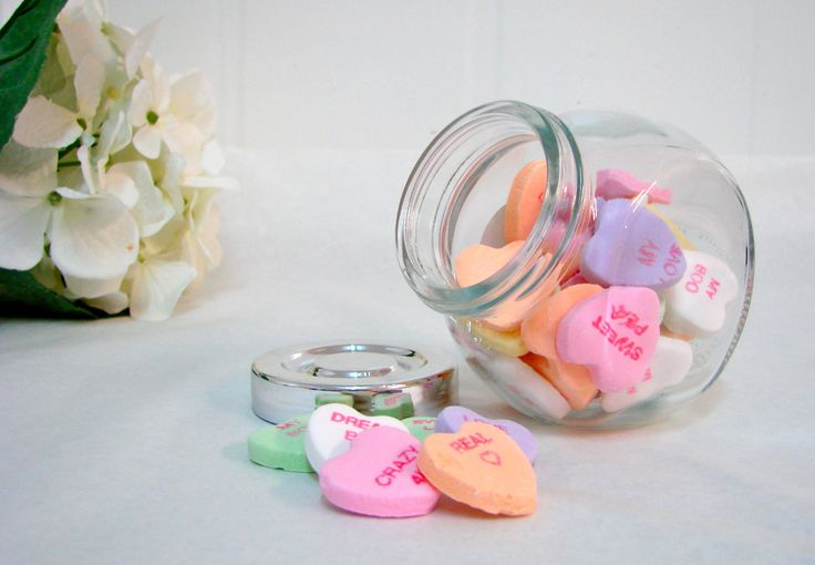 IKEA jar filled with conversation hearts <3