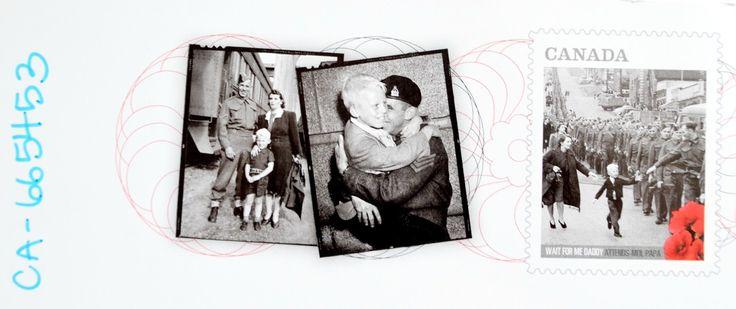 """Żołnierska pocztówka z Kanady - """"Poczekaj na mnie Tato"""". Postcrossing - Canada. """"Wait for me daddy"""""""