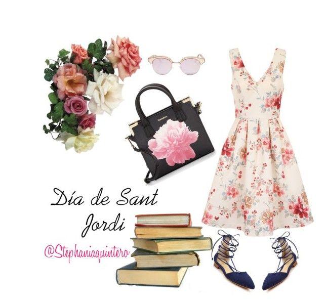 """Día de Sant Jordi #books #flowers #fashionista #saturday #fashionblogger #barcelona #outfitoftheday #fashiondiaries"" by stephaniashoppinkstyle on Polyvore featuring moda, Chi Chi, Schutz, Calvin Klein y Le Specs"