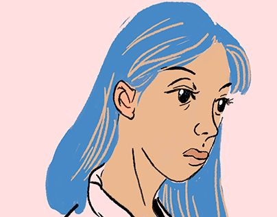 """Check out new work on my @Behance portfolio: """"Blue haired girl"""" http://be.net/gallery/52307089/Blue-haired-girl"""