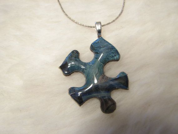 Blues Puzzle Piece Necklace by mauramuir on Etsy, $10.00
