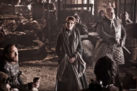 Michelle Fairley as Catelyn Stark, Jerome Flynn as Bronn, Ron Donachie as Rodrik Cassel and Peter Dinklage as Tyrion Lannister