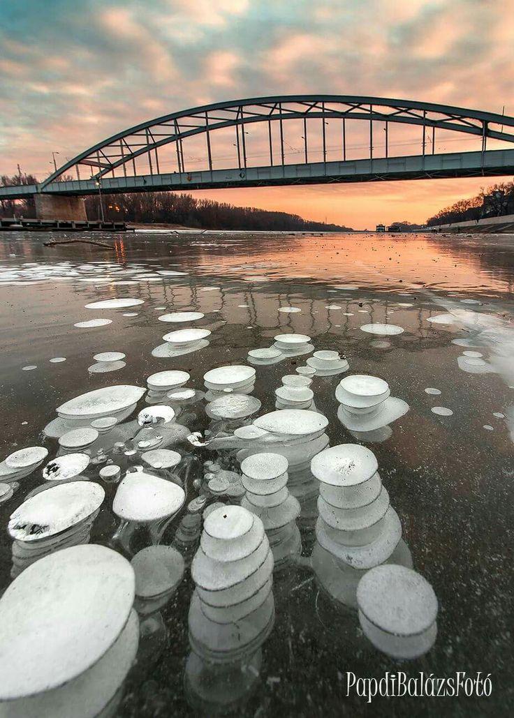 Szeged, Tisza jég alatt gáz buborékok megfagyva