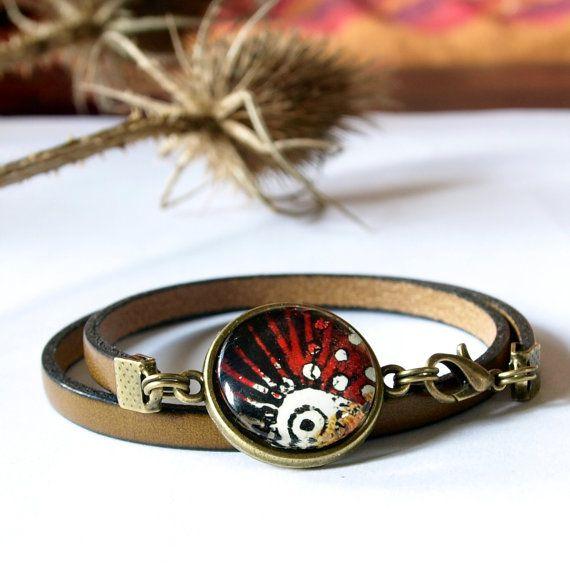 Bracelet gypsy en cuir naturel pour femme TAILLE UNIQUE