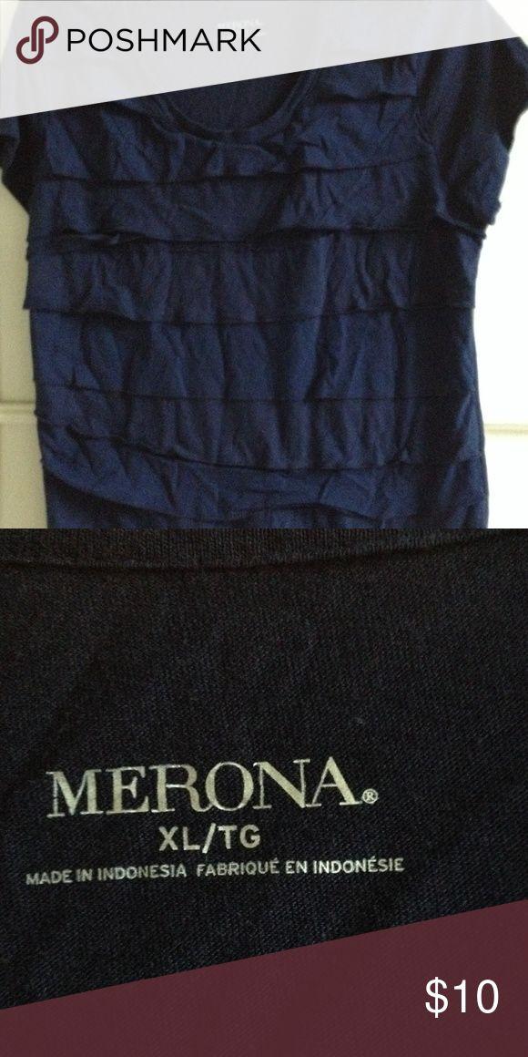Ruffled navy short sleeved Top Figure flattering ruffled Merona pull over top. EUC Merona Tops Tees - Short Sleeve