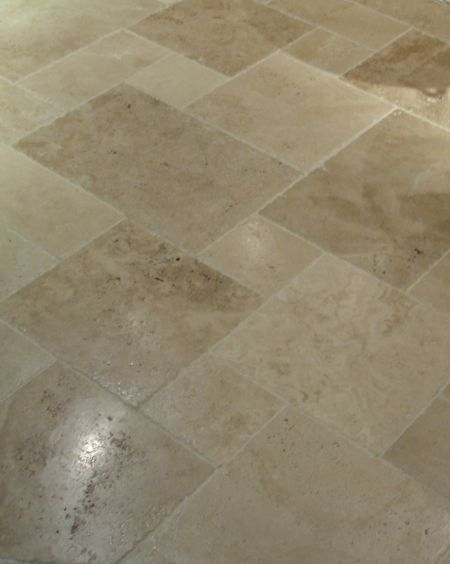 Tuscany Beige Travertine tile in a versailles pattern. Sold in 16 sq. ft. sets for $127.20 Click image to see it in our online store.
