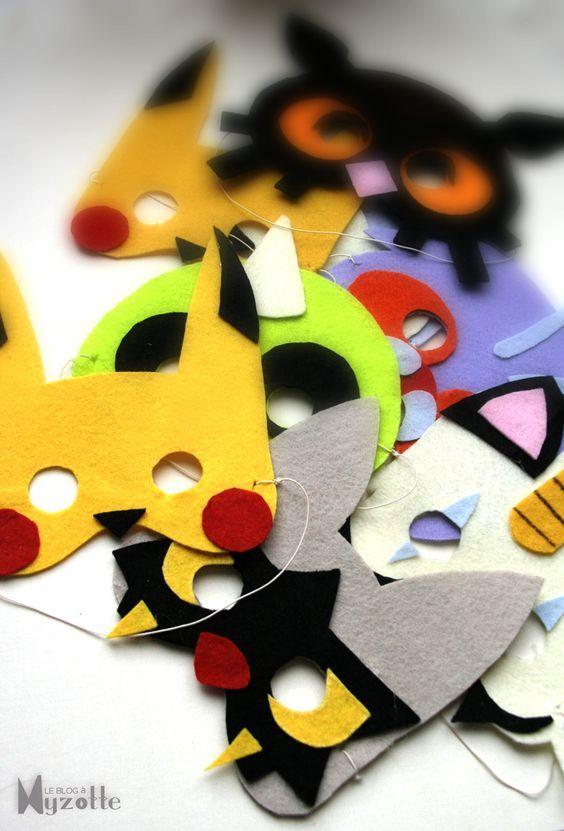 Mascaras de feltro - 35 ideias e inspirações para festa Pókemon | Macetes de Mãe