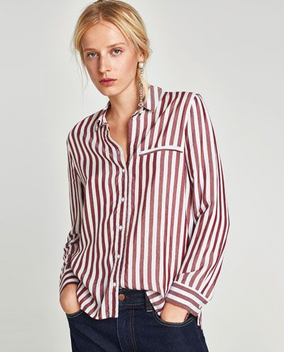 Image 2 of STRIPED SHIRT from Zara      I like the red and the navy