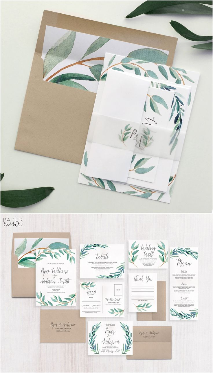 Wedding Invitation | Eucalyptus Wedding Invitation Suite | Greenery Invitation | Leaf Invitation | Printed Wedding Suite | Wreath | Piper