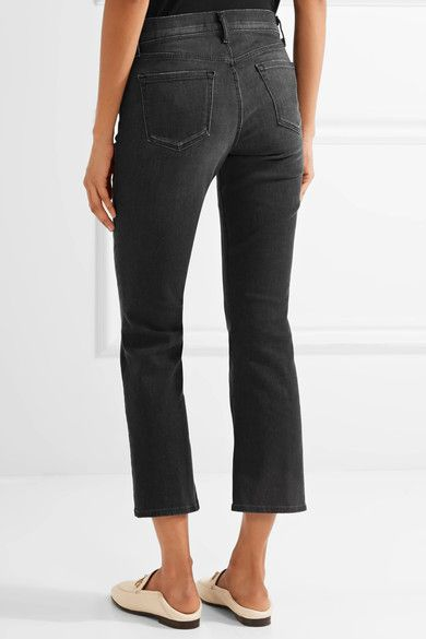 J Brand - Selena Cropped Mid-rise Flared Jeans - Charcoal