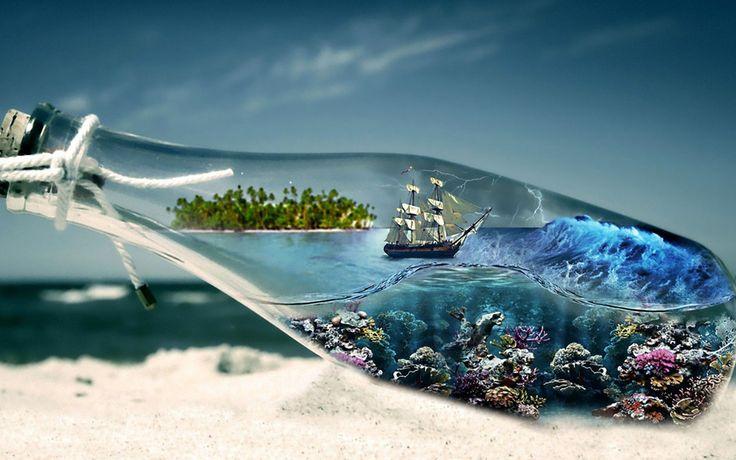 парусник, бутылка, волны, буря, шторм, подводные, растения, рифы, остров, пробка