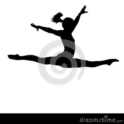 Artistic gymnastics. Gymnast woman jumping doing a split. PNG available.
