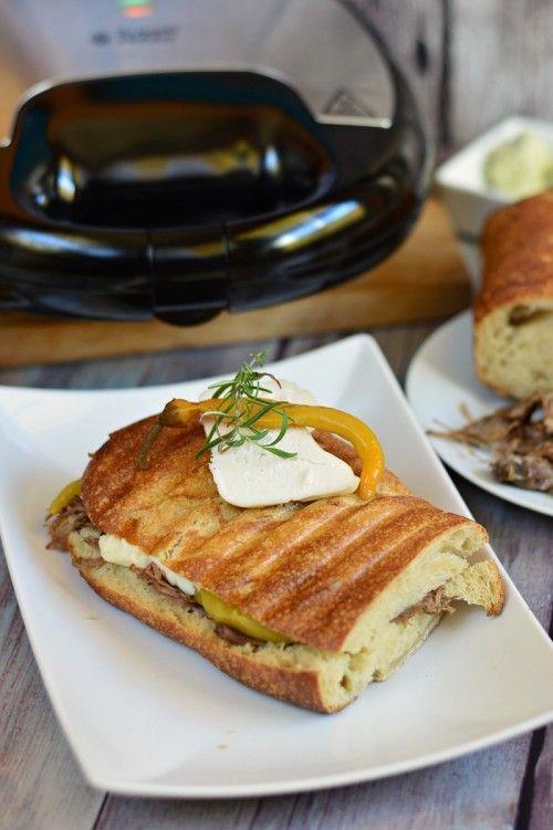 Hosszan sült kecskehússal töltött szendvics recept