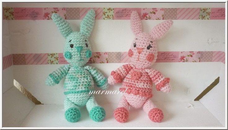 Marmarel: Patroon gehaakte konijntjes (met accessoires)