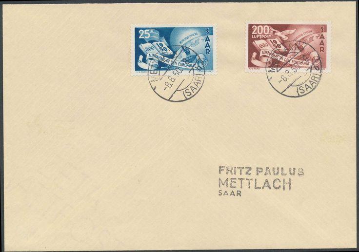 Germany, Saar, Saarland 1950, Europarat, beide Werte auf gelaufenem ERSTTAGS-Brief, selten, Foto-Attest Hoffmann BPP (Bf., Mi.-Nr. 297/298, Mi.EUR 1.900,-). Price Estimate (8/2016): 600 EUR.