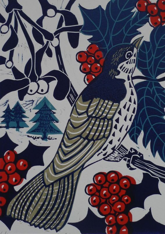"""MISTLE THRUSH"" by Kate Heiss. Linocut on Paper, Subject: Animals and birds, Illustrative style, From a limited edition of 6, Signed and numbered on the front, This artwork is sold unframed, Size: 30 x 40 x 0.1 cm (unframed), 11.81 x 15.75 x 0.04 in (unframed), Materials: Water based relief inks on 300gsm Somerset Velvet Paper"